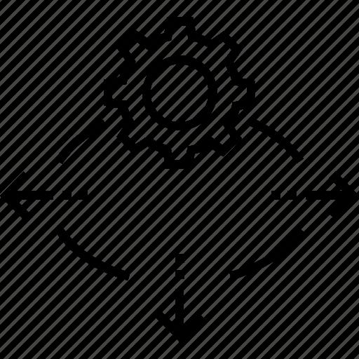 cog, cogwheel, decision support system, generating, idea icon