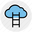 aspiration, cloud computing, cloud hosting, data cloud, stairs icon