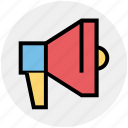 bullhorn, loudspeaker, marketing, megaphone, speaker icon