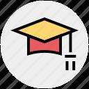 cap, degree, diploma, graduate, graduation, hat, study icon