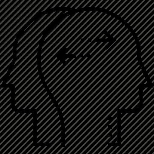 head, human head, intelligence, mind, thinking icon