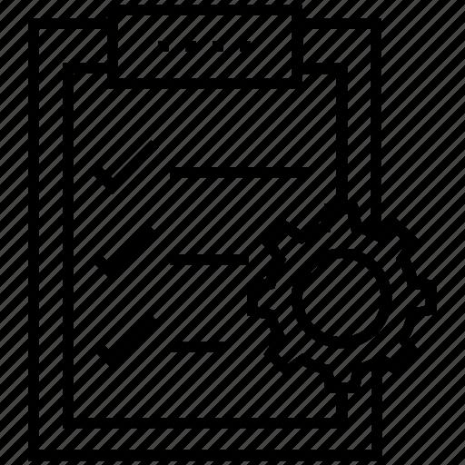 checklist, clipboard, cog, customer processing, order icon