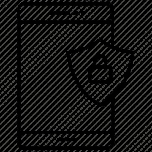 lock, mobile, privacy, protection, shield icon