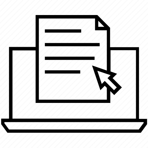 document, ecommerce, invoice, laptop, purchase history icon