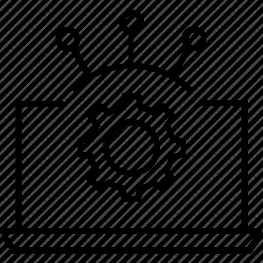 cogwheel, laptop, management, management system, progress icon