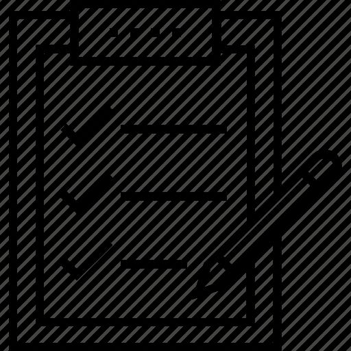 checklist, clipboard, order, pencil, query icon