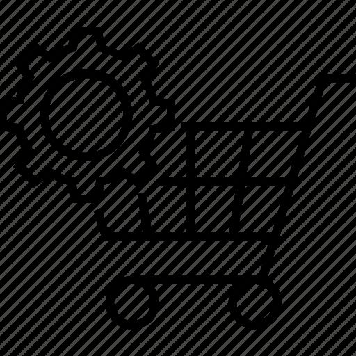 cog, ecommerce, order management, sales, shopping cart icon