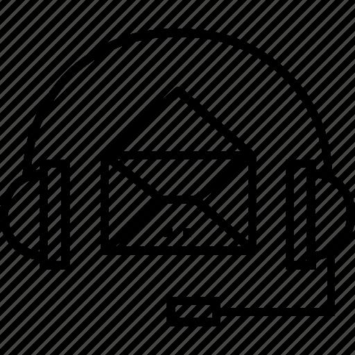 customer service, envelope, headphones, helpline, support icon