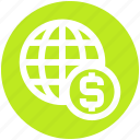 business, cash, dollar, globe, money, payment, world icon