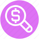 business, dollar, finance, magnifier, prize, research, search