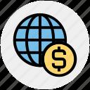 business, cash, dollar, globe, money, payment, world icon