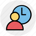business, businessman, clock, management, time, timer, user icon