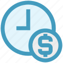 business, clock, coin, dollar, money, time icon