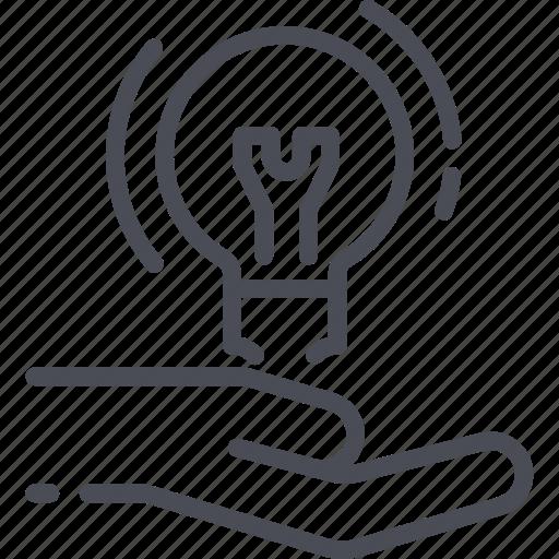 bulb, hand, idea, innovation, lamp, light, solution icon