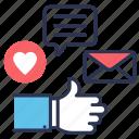 campaign, creative, like, media, seo, social, social media icon