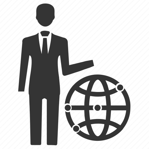 businessman, global business, global communication, world, worldwide business icon