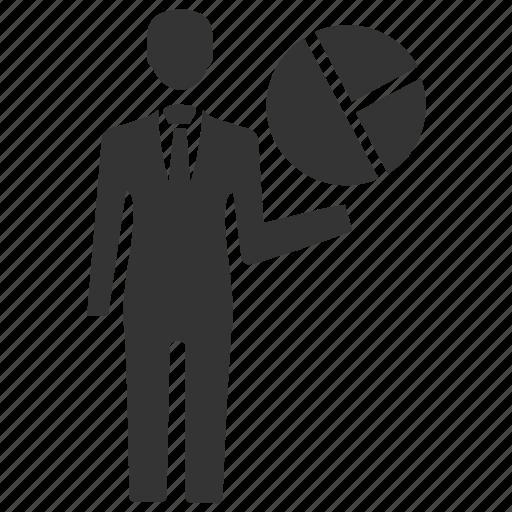 analytics, businessman, chart, graph, pie chart icon