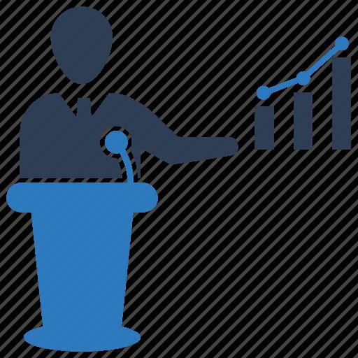 growth, presentation, report, training icon