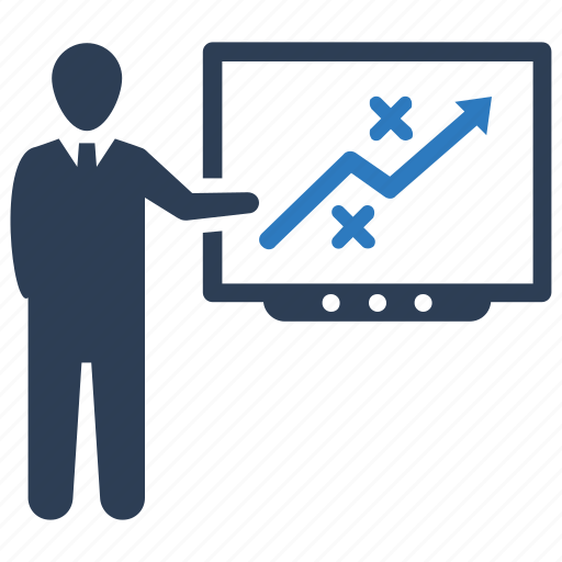 business strategy, planning, presentation icon