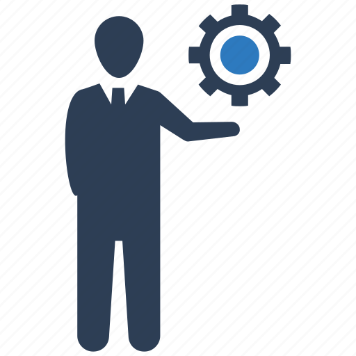 business solution, gear, solution, strategy icon