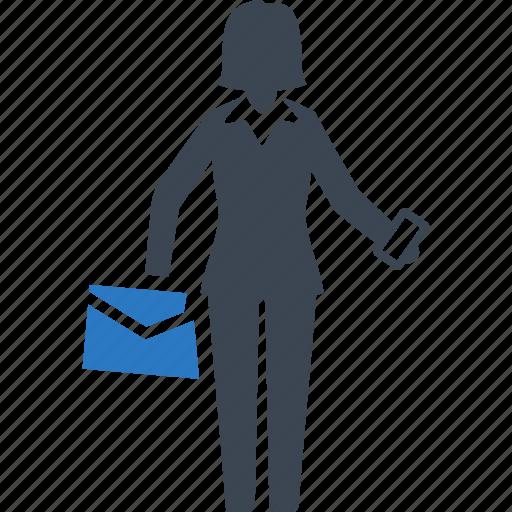 briefcase, business, businesswoman icon