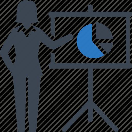 analytics, businesswoman, pie chart icon