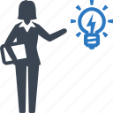 business idea, businesswoman, light bulb, brainstorming icon