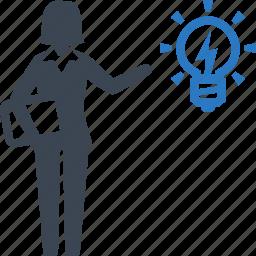 brainstorming, business idea, businesswoman, light bulb icon
