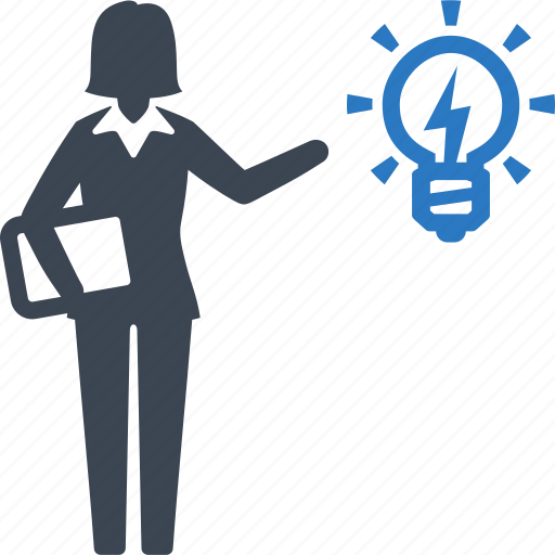 brainstorming, business idea, businesswoman, light bulb icon