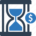 hourglass, loan, money, time, time is money icon