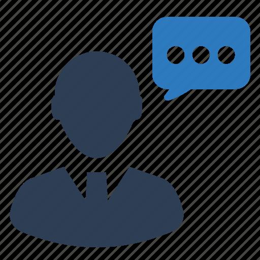business talk, businessman, speech icon