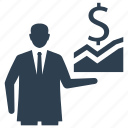 business analytics, businessman, graph, presentation, statistics icon