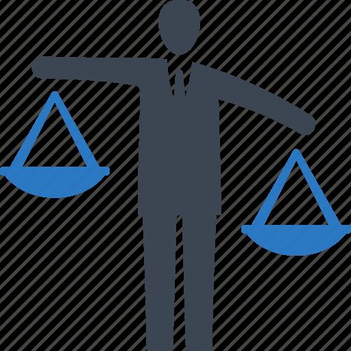 businessman, choice, decision, scale icon