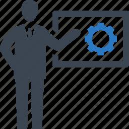 businessman, presentation, strategy icon