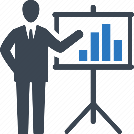 analytics, business presentation, businessman, graph icon
