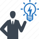 brainstorming, business idea, light bulb icon