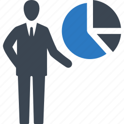 analytics, businessman, pie chart, presentation icon