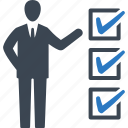 businessman, checklist, tasks icon