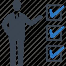 businessman, checklist, tasks icon