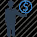 businessman, dollar, financial advisor, financial manager, merchant, salesman icon