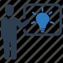 business idea, creativity, presentation, solution, strategy icon