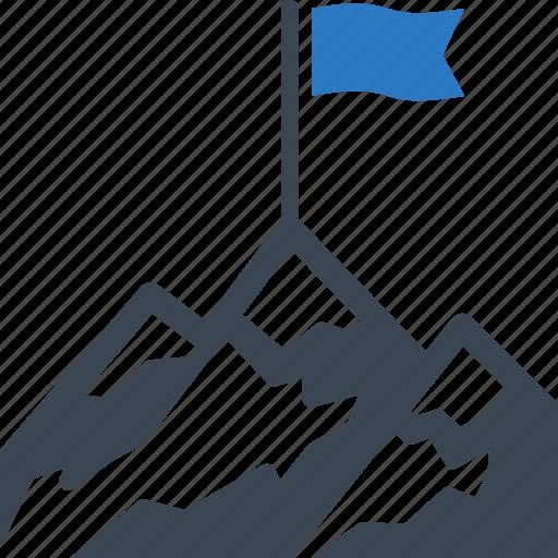 achievement, flag on mountain, goal, success icon