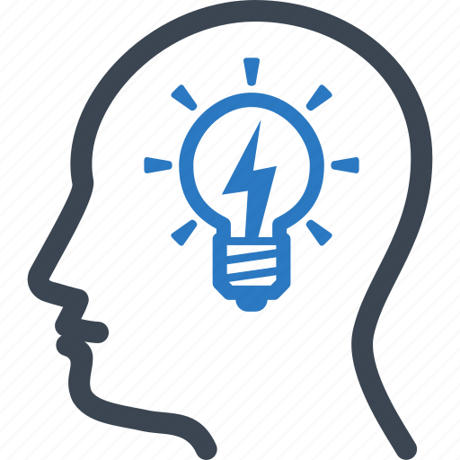 brainstorming, business idea, head, light bulb icon