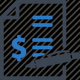 bill, contract, document, invoice icon