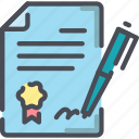 agreement, contract, deal, document, paper, pen, signature icon