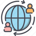 background, employee, globe, network, outsource, outsourcing, people icon