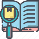 analysis, chart, data, glass, magnifying, research icon