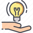 bulb, hand, idea, innovation, lamp, light, solution icon