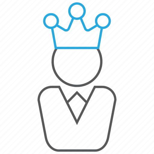 business, crown, employee, employer, king, leader icon
