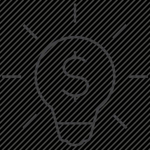 bulb, business, cash, idea, light, money, profit icon